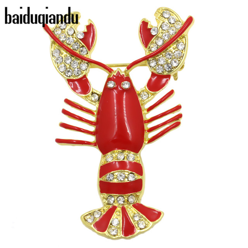 baiduqiandu Red Crayfish Lobster Enamel and Crystal Diamante Brooch Pins for Women Dress Shirt ...