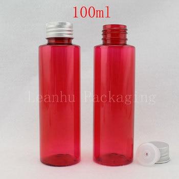 100ML Red Plastic Bottle Aluminum Cap , 100CC Empty Cosmetic Container , Lotion / Shampoo / Toner Sub-bottling ( 50 PC/Lot )