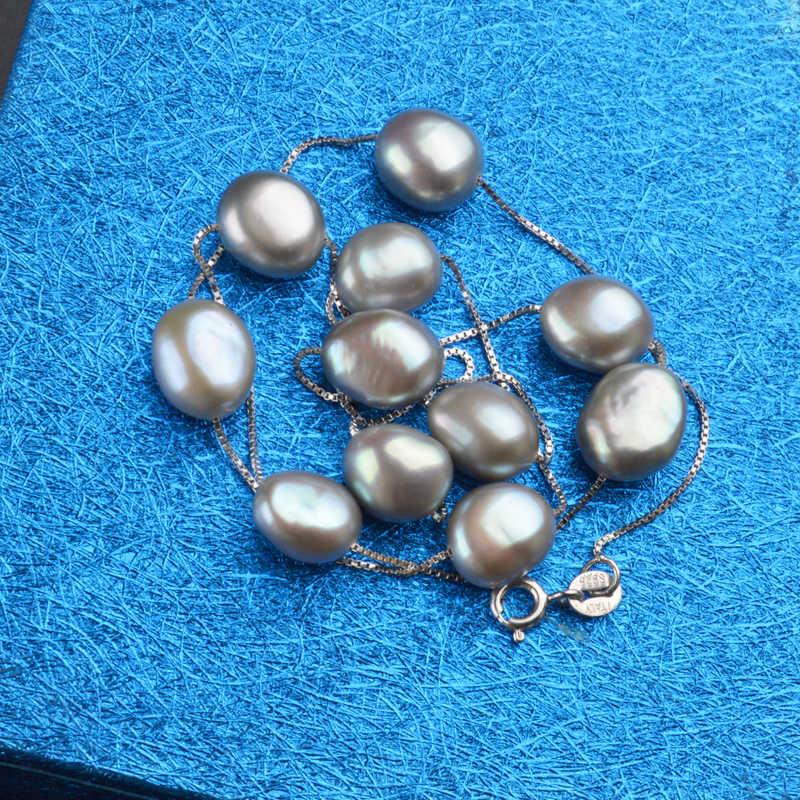 AshiqiリアルS925スターリングシルバー天然淡水真珠のペンダントネックレスグレー白8-9ミリメートルバロック真珠の宝石女性