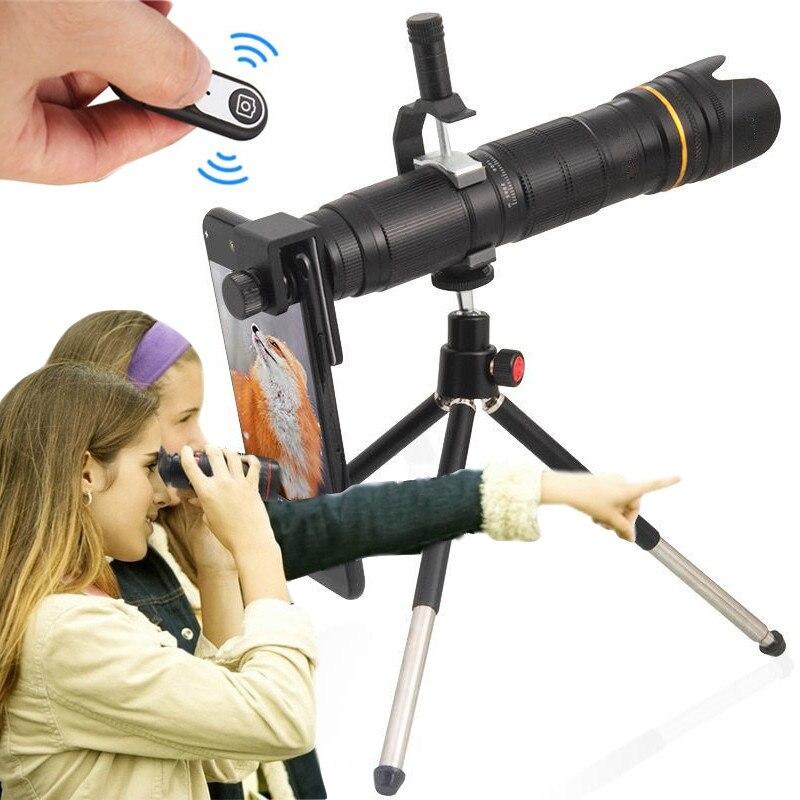 Orsda 4 k hd 16-35x telescópio câmera zoom lente para smartphone lente celular 3-seção ajustável telefone celular telefoto lentes