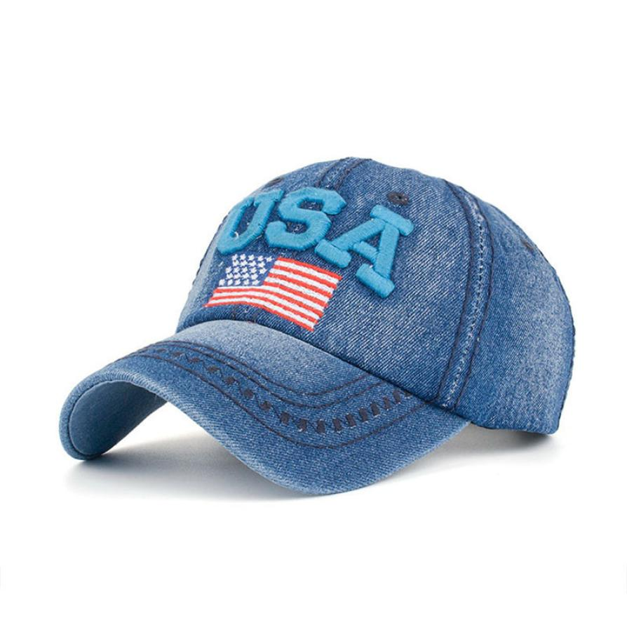 24ae0755e1e03 baseball cap women jeans Women Men USA Denim Rhinestone Baseball Cap  Snapback Hip Hop Flat Hat