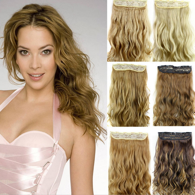 24inch 60cm 5 Clip In Curly Hair Extensions Synthetic Fake