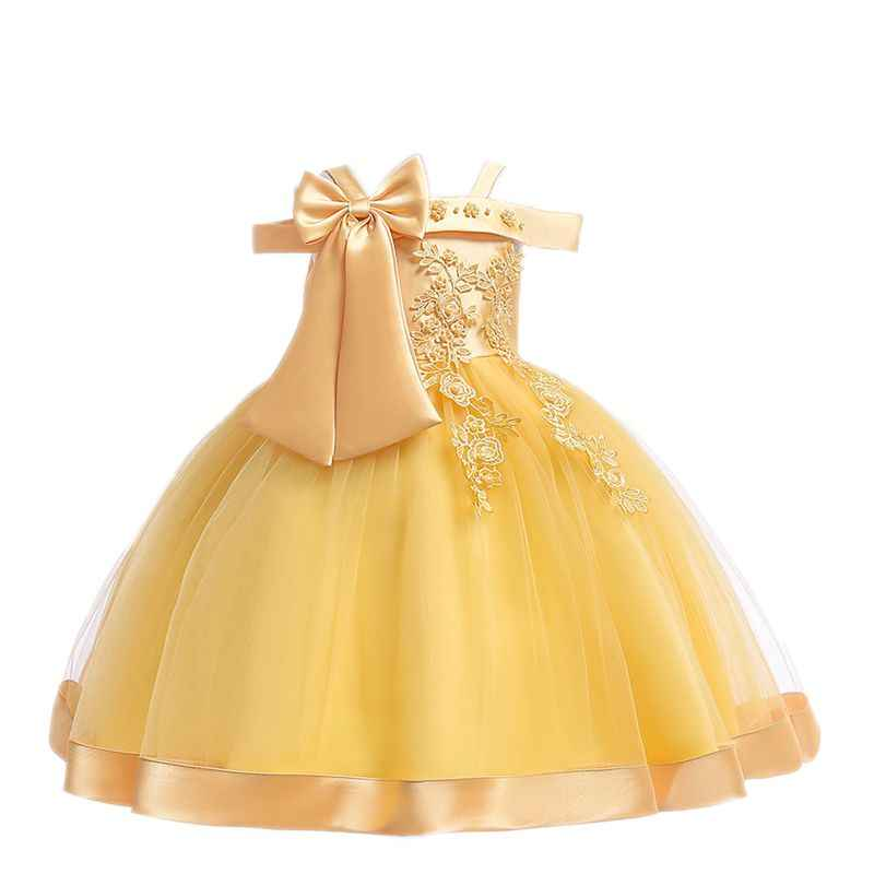 Baby Girl Clothes Floral Girls Silk Princess Dress for Wedding Party Big Bow Kids Dresses for Toddler Girl Ball Gowns Children