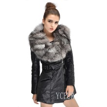 Women Winter Jackets 2 Colors Genuine Sheep Leather Down Coat With Fox Fur Collar Trims Warm