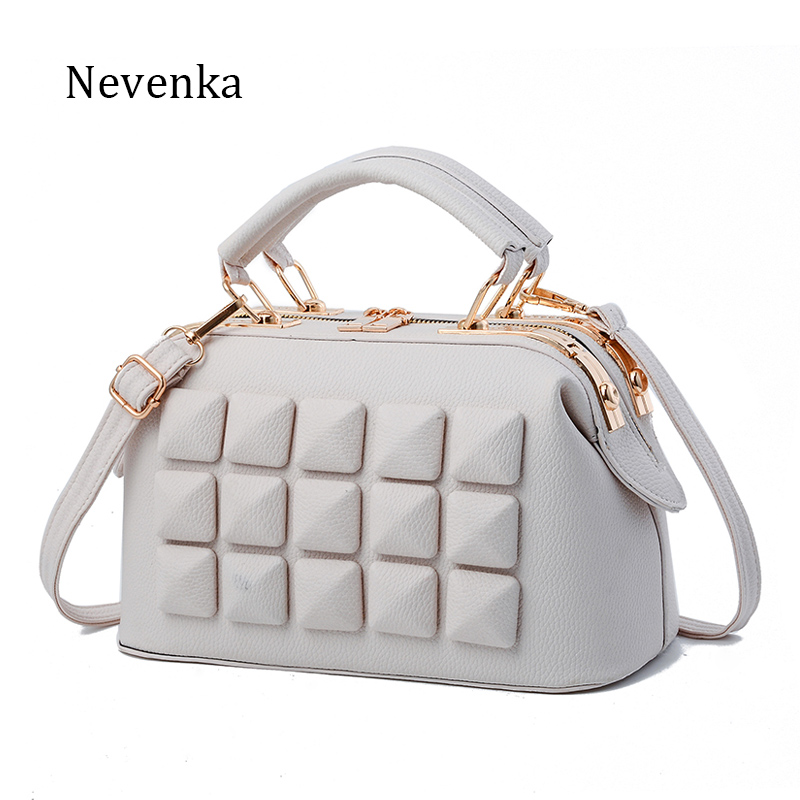 Nevenka Brand Women Leather Boston Bag Ladies Stone New Design Handbag Female Luxury Party <font><b>Evening</b></font> Bags Casual Tote New Arrival