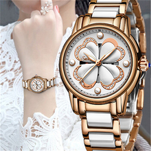 Fashion SUNKTA Rose Gold Ceramics Women Watches Top Luxury Brand Clock Casual Dress Quartz Watch Ladies Relogio Feminino