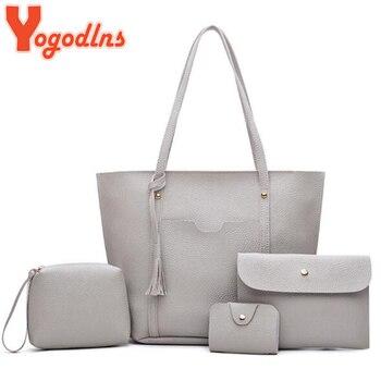 Yogodlns Fashion Women Leather Handbags 4PcsSet Big Capacity Shoulder Bag Ladies Solid Composite Bags Crossbody Bag and Purse Сумка