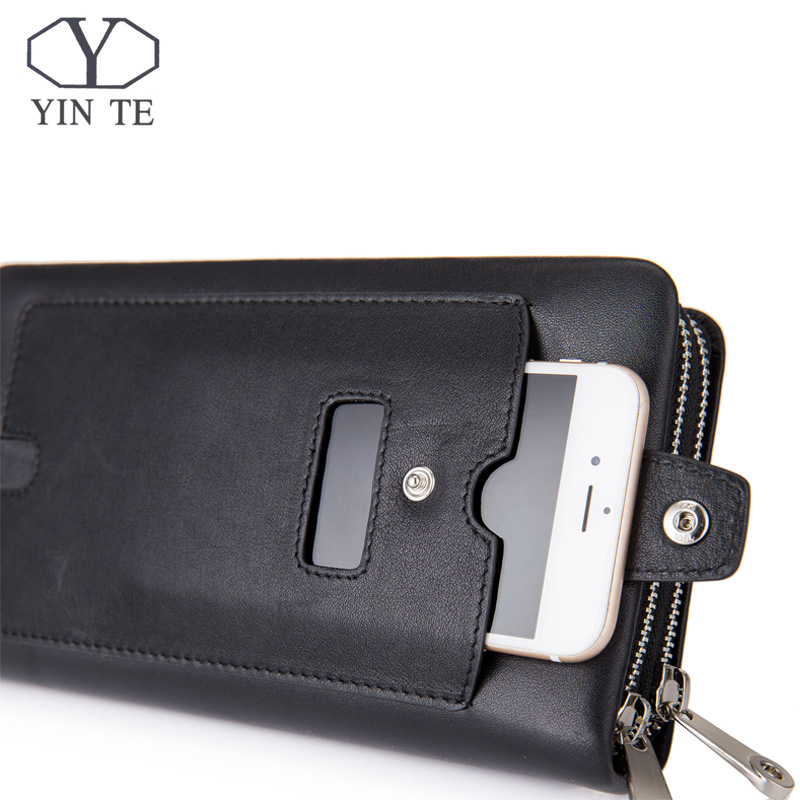 YINTE 2017 Leather Vintage Solid Clutch Bag Phone Cases Brand Mens Wallet Double Zipper Genuine Leather Bag T1611-3A 2017 new brand mens wallet double zipper genuine leather bag vintage solid clutch bag phone cases male coins purses wallet