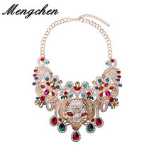 New Fashion Luxury Big Leopard Print Punk Pendants Necklaces Vintage Crystal Flowers Collar Statement Necklace Jewelry(China)