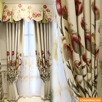 Custom curtains luxury jacquard Gorgeous tulip American garden high-grade chenille  cloth blackout curtain tulle valance N630 window valance