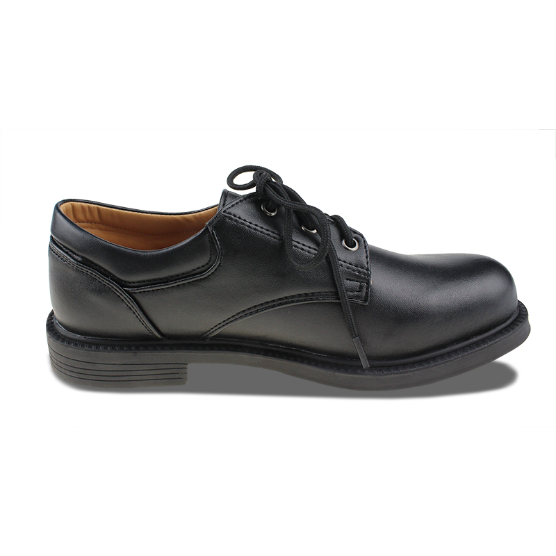 Msmax Boys Leather Shoes Children Lace Up Breathable Black Single