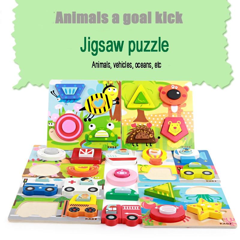 Творческие дети деревянный 3D Пазлы игрушки мультфильм животных трафика Образование головоломки игрушки монтессори игрушка для детей Пода...