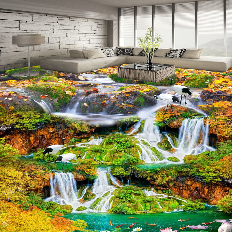 Free Shipping Beautiful outdoor waterfalls 3D floor wallpaper study office home self-adhesive floor mural  free shipping custom waterfalls lotus scenery floor wallpaper study office bathroom non slip wear floor wallpaper mural