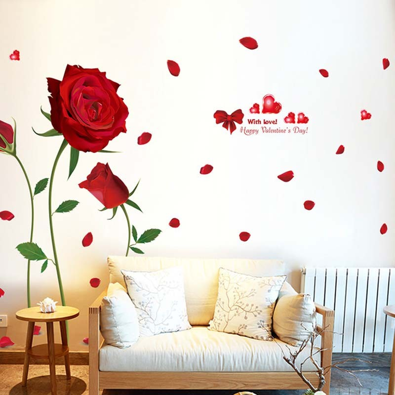 % Romantic Red Rose Home Decoration Printing Magic Cartoon Children Room Background Decorative PVC flowers Wall Stickers Poster купить в Москве 2019