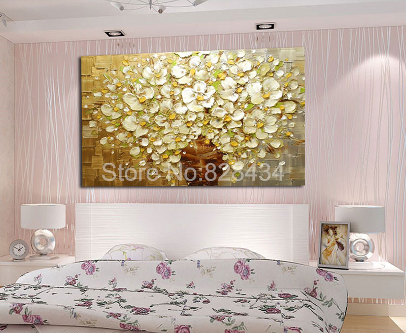 Wall Art Gold And Silver : Hand painted wall art abstract painting gold and