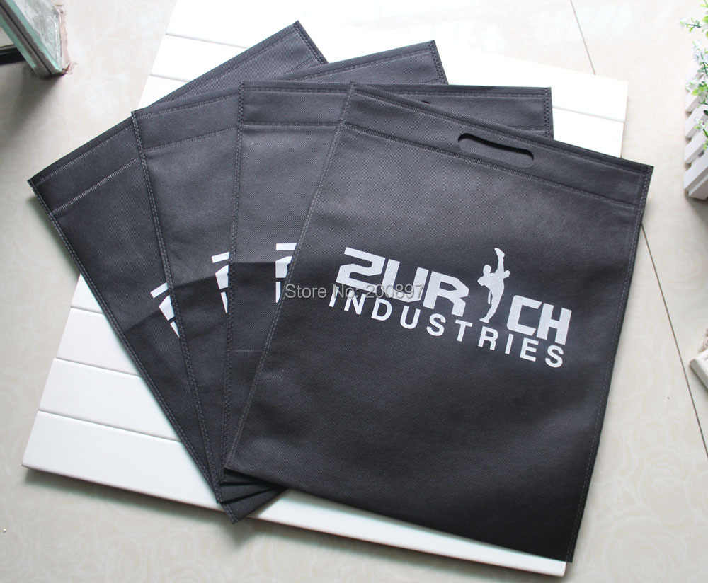 Custom print clothing bag non woven punch hole handle H40cm*W32cm no side no depth 100pcs lot