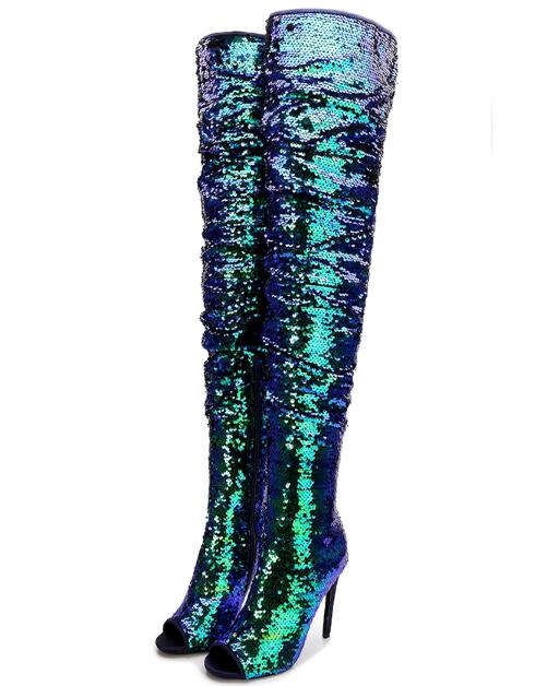 Mode Club Color Haut Genou Cuissardes Showed Toe as Cuisse Night Peep Nous Cours Color Performance As Stade Paillettes Bottes Taille Femme À Dame PprFqP