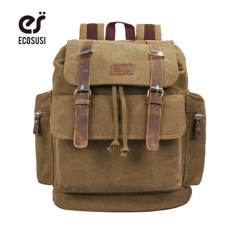 ECOSUSI Canvas Backpacks Laptop Backpack Men's Travel Bags Durable Laptop Bag Travel Bag Lager Capacity School Bag Backpack new gravity falls backpack casual backpacks teenagers school bag men women s student school bags travel shoulder bag laptop bags
