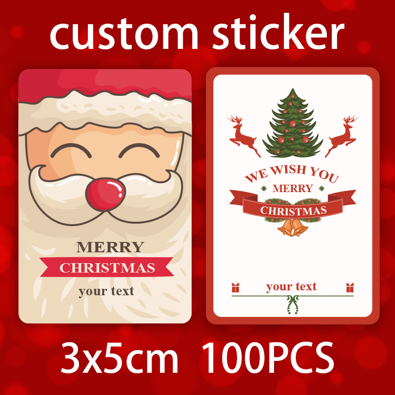 100pcs printing labels custom christmas stickers printed logo pvc