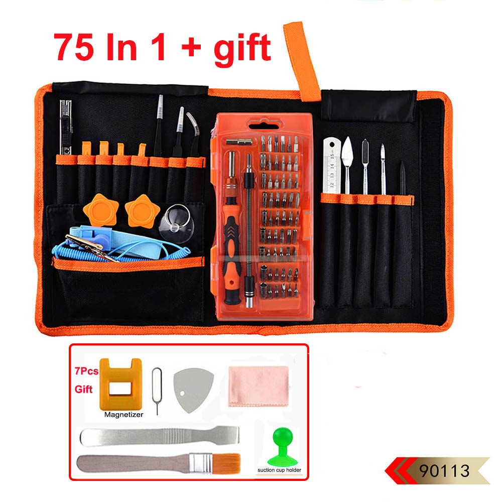 цена на 75 In 1 Professional Mobile Phone Precision Screwdriver Tweezers Opening Kit Repair Tools Set With Bag for iPhone Laptop PC iPad