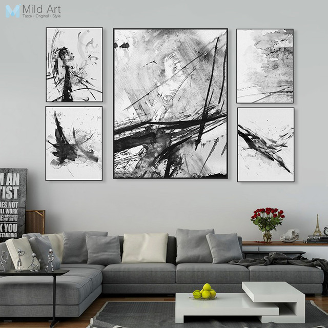 Modern Abstract Chinese Ink Splash Canvas A4 Art Poster Print Wall Picture Painting Custom Vintage Retro Living Room Home Deco
