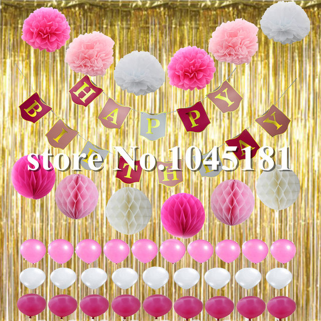 Online Shop Happy Birthday Decorations Hot Pink White Gold Foil