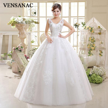 VENSANAC 2018 Elegant Crystal V Neck Sequined Ball Gown Wedding Dresses Lace Appliques Backless Tulle Bridal Gowns