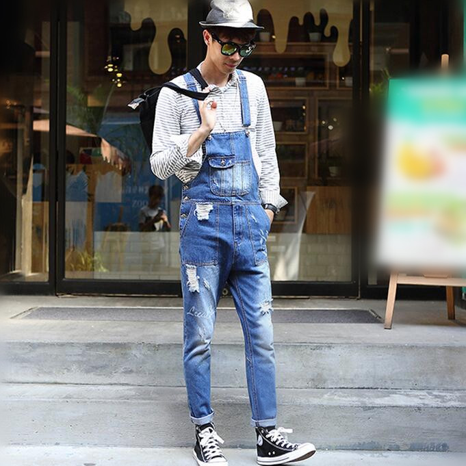 Bib Overalls For Men 2017 Holed Ripped Denim Overalls Male Bib Jeans Bleached Garment Washed Letters Printed Free Shipping denim overalls male suspenders front pockets men s ripped jeans casual hole blue bib jeans boyfriend jeans jumpsuit or04