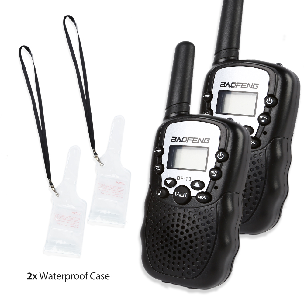 2pcs Baofeng T 3 Handheld Walkie Talkie 1 9 Miles CTCSS VOX Flashlight FRS GMRS LED