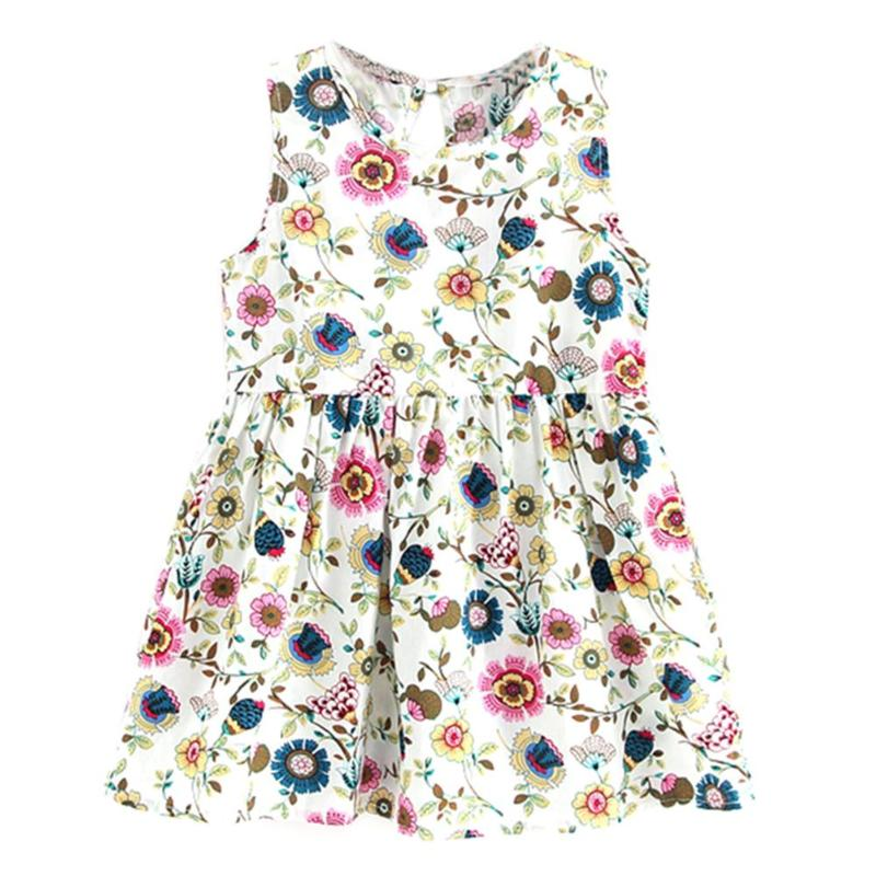 Baby Girls Dress Summer Clothes Toddler Kids Sleeveless Sundress Children Birthday Party Costume Floral Cotton Vest 3-6Y puseky vestido princesa 2 pcs set cute kids baby girls clothes minions minnie party dress vest skirt toddler clothes 1 6y