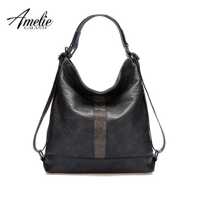 AMELIE GALANTI Newest Handbags women Shoulder bags novel Fashion Soft High quality fabrics PU Multifunction Decorative belt