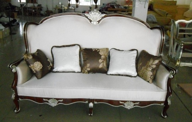 Wooden Carved Sofa Furniture Couch/velvet Cloth Chairs Living Room Sofa  /fabric 3 Seater