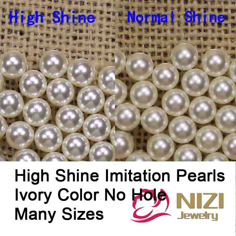 Perfect High Shine Imitation Pearls For Craft Art Round Shape Ivory Color Resin No Hole Pearls Many Sizes For Choose New Beads pearls white and ivory 16 24mm abs resin imitation round pearls with hole high shine pearls