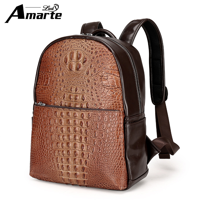 Amarte Backpacks for men Bag PU Leather Men's Shoulder Bags Fashion Male Business Casual Boy Vintage Men Backpack School Bag male bag vintage cow leather school bags for teenagers travel laptop bag casual shoulder bags men backpacksreal leather backpack