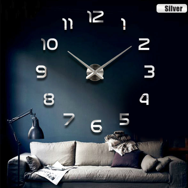 2017 New Metall Moderne 3D DIY Wall Clock Acrylic EVR Metal Mirror Home Decoration Super Big 130cm x130 cm Factory Freeshipping