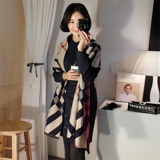 New design mulheres de inverno lenços de cashmere xale dupla-face de espessura Stripe pashmina lenço