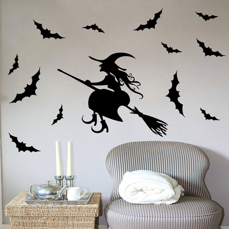 Halloween Wall Stickers For Kids Rooms Girl Gift Hallowmas All Saints Day Wall Decal Home Decoration Witch Bat Poster Wallpaper