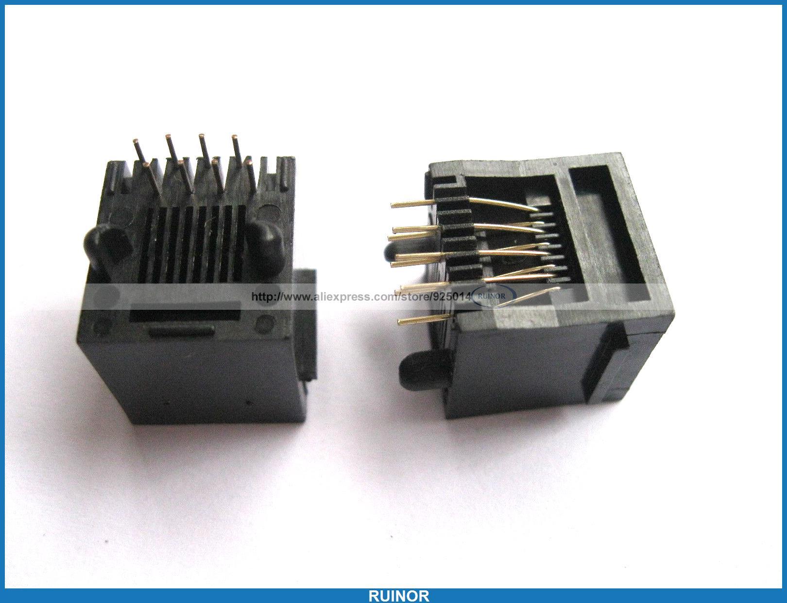 50 Pcs RJ45 Modular Network PCB Jack Connector 5222 8P8C 24 pcs rj45 modular network pcb jack 56 8p w led 4 ports