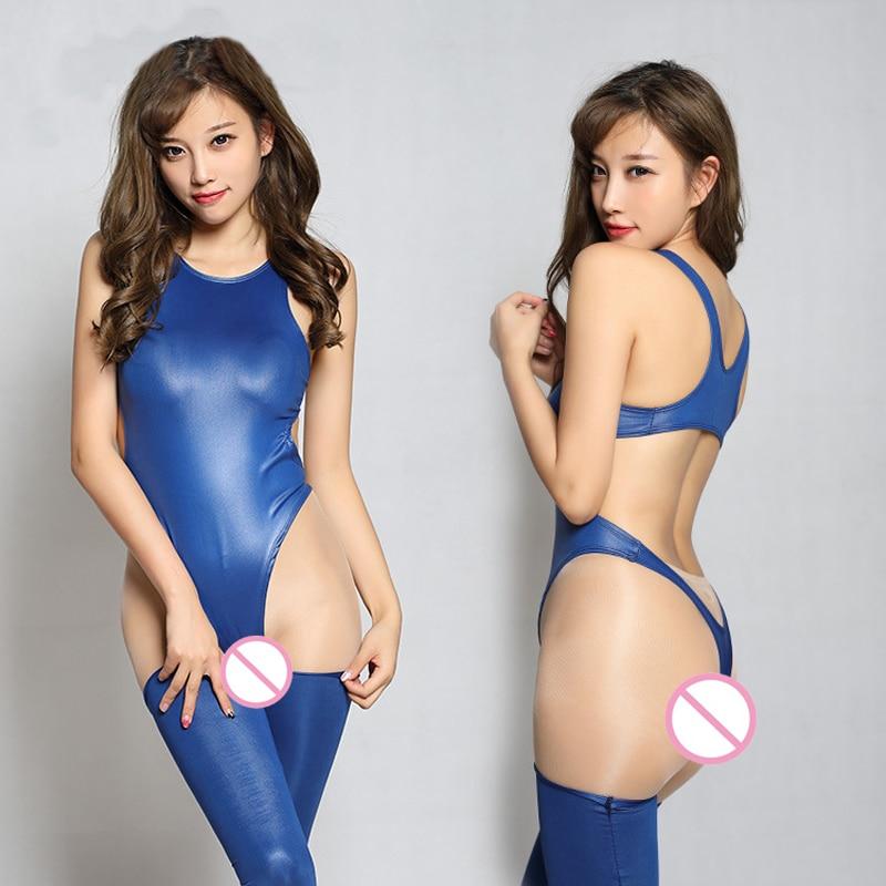 1 Set High Cut Swimsuit Hollow Backless Bodysuit Pvc Shiny -9416