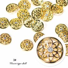 10pcs/set 3D Heart Star Flower Design Mixed Gold Silver Rhinestone Decor Nail Art Tool Alloy Rhinestone Pearl Spike Nail Tip(China)