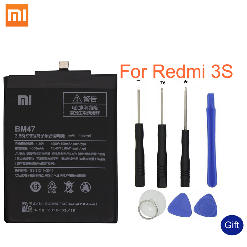 Xiao mi rojo Original mi 3 s batería BM47 alta calidad de gran capacidad 4000 mAh reemplazo de la batería para rojo mi 3X 4X Hong mi 3 S 4 X
