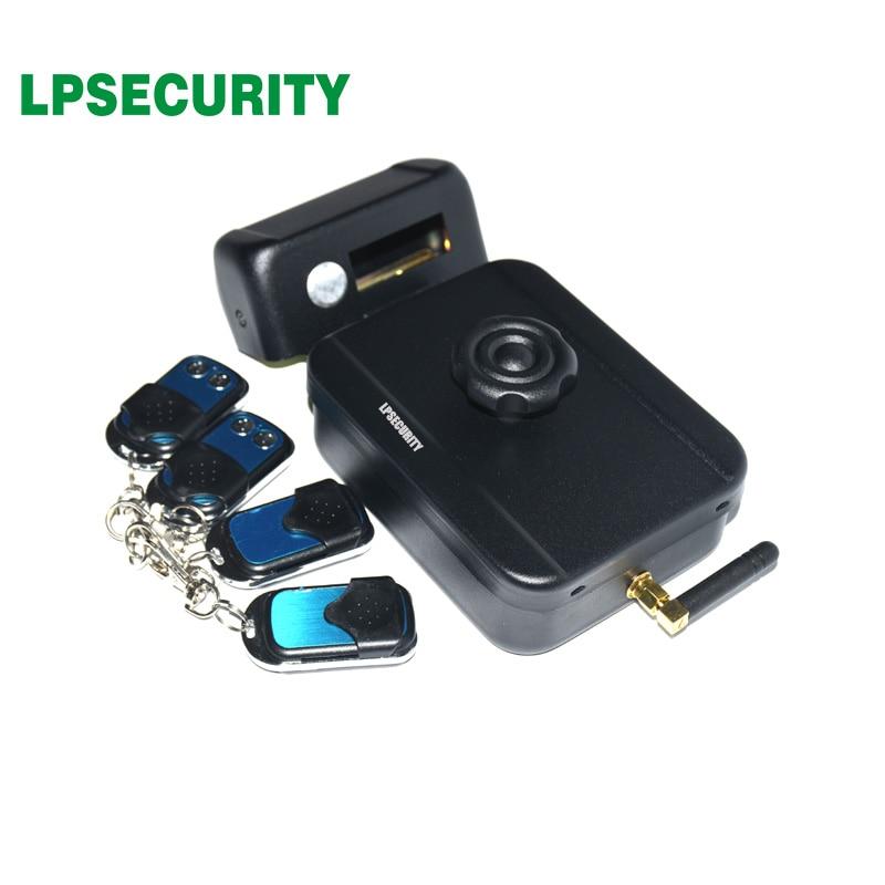 LPSECURITY battery power 4 remote controls wireless outdoor gate door castle electric drop bolt lock no