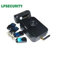 LPSECURITY バッテリ電源 4 リモートコントロールワイヤレス屋外ゲートドア城電気ドロップボルトロック (バッテリなし付属)