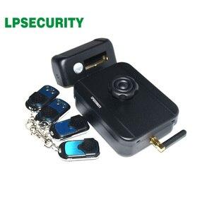 Image 1 - LPSECURITY питание от аккумулятора 4 пульта дистанционного управления беспроводные наружные ворота дверь замок Электрический Болт замка (батарея в комплект не входит)