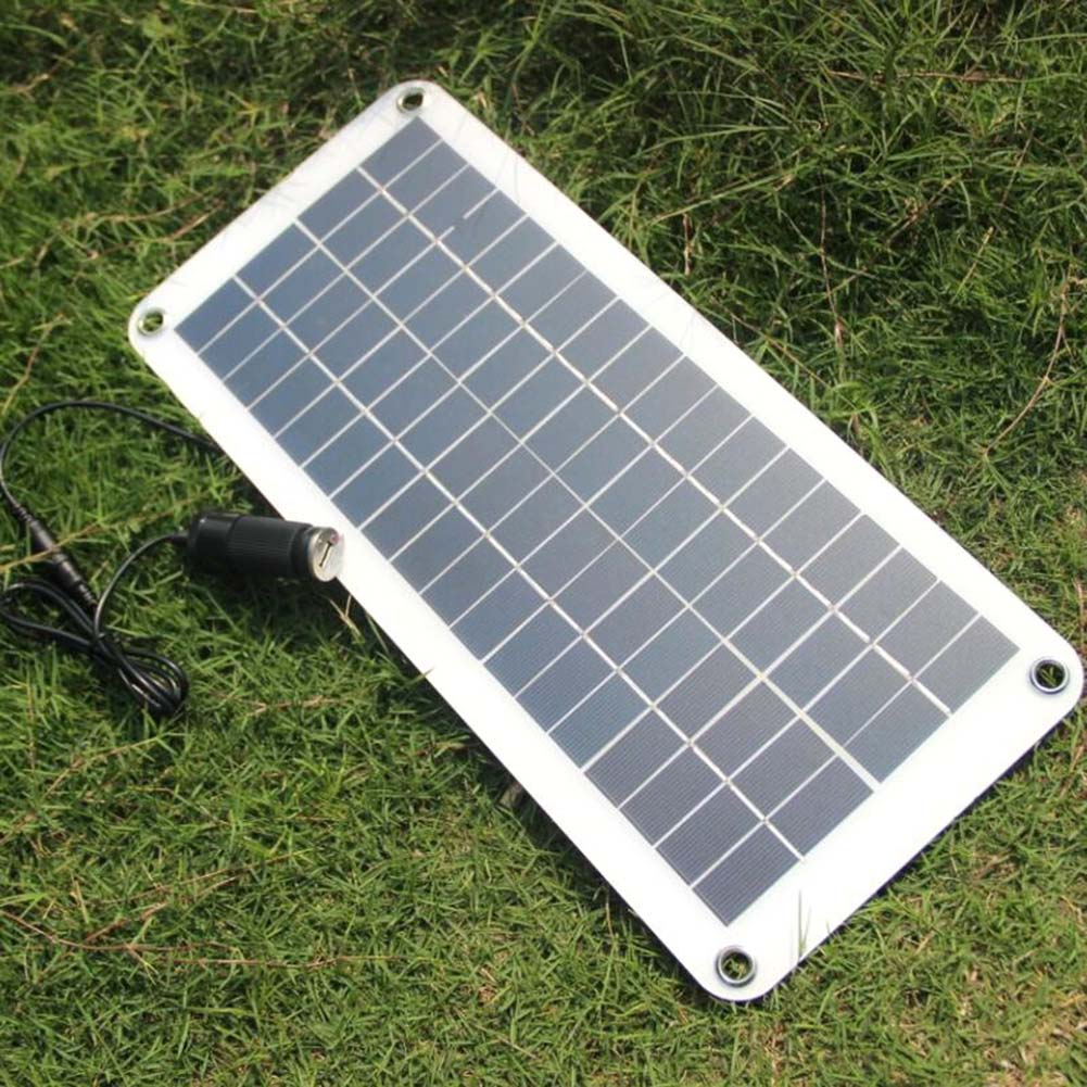 цена 20W Solar Panel 12V to 5V Battery Charger USB for Car Boat Caravan Power Supply LB88