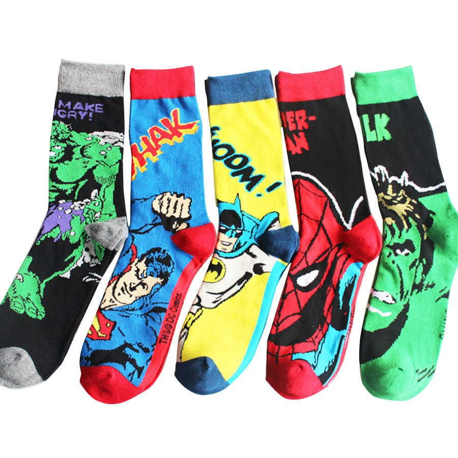 Hot Superman Batman Captain America Cartoon Odd Future Happy Harajuku Socks Character Pattern Superheroes Happy Funny Socks
