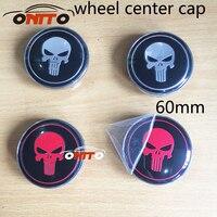 20PCS /lot 60mm car Emblem Badge wheel Hub Caps For SKULL Auto wheel center caps Car Covers