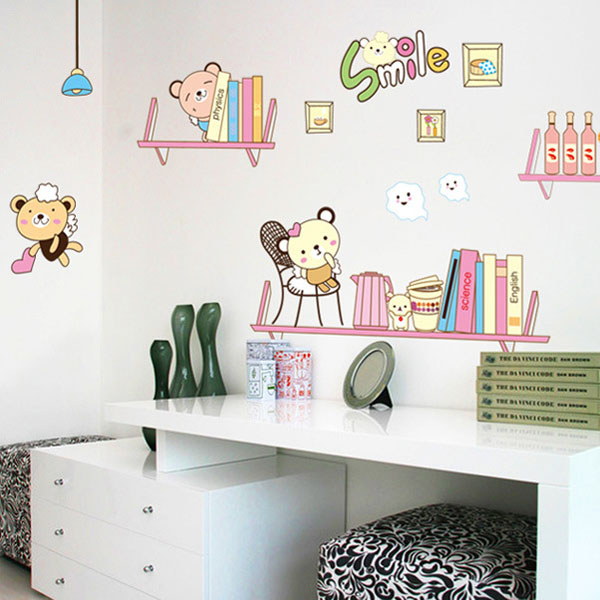 Fundecor Winnie Bookshelf Wall Stickers For Kids Rooms