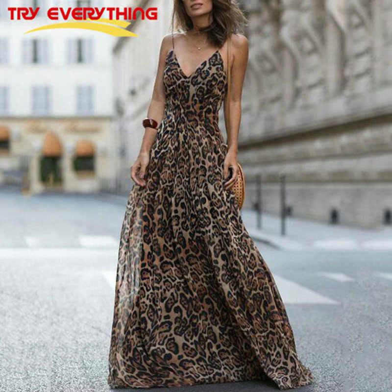 91c38376abd Попробуйте все леопардовое платье для женщин Лето 2019 г. пикантные Макси  платье в стиле бохо