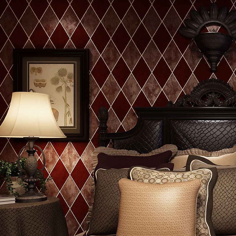 Beibehang Village Retro Diamond Check Papel Parede 3d Wallpaper TV Background Wall Wallpaper For Living Room Bedroom Wall Paper